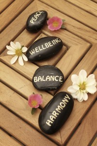 Every Day Sacred - four rocks with peace, wellbeing, balance and harmony painted on them