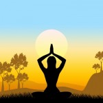 ID-100281562 Yoga Pose Means Scenic Green And Meditate